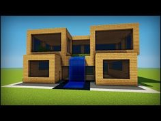 Minecraft: How to build a simple oak modern house - YouTube