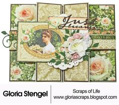 """Welcome to the Blog! I have a """"fancy fold"""" card to share with you today. I created this project for Graphic 45 to use in their various show booths for spring. I used the NEW Portrait of a Lady paper c"""