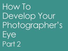 Haven't read this but it is SO important for photographers to develop their OWN eye for photography! Copying the look of someone else's photography will never bring you true success.