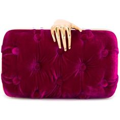 Benedetta Bruzziches 'Carmen with Hand' clutch bag (£680) ❤ liked on Polyvore featuring bags, handbags, clutches, velvet clutches, benedetta bruzziches, velvet handbags, purple purse and purple handbags