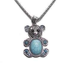 $1.47 Teddy Bear Green Tibet Silver Tone Hollow Turquoise Bead Necklace http://www.eozy.com/teddy-bear-green-tibet-silver-tone-hollow-turquoise-bead-necklace.html