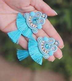 Soutache Necklace, Tassel Earrings, Shibori, Boho Jewelry, Jewelery, Beaded Embroidery, Diy Art, Fashion Earrings, Beading