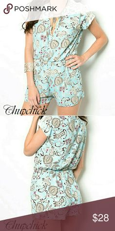 SALE! Lace shoulder Romper Short sleeve lace patterned romper Chupchick  Pants Jumpsuits & Rompers