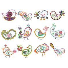 Paisley Birds Feathers Machine Embroidery Designs | Designs by JuJu