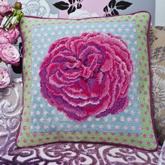"Kaffe's ROSE 15"" needlepoint cushion kit design"