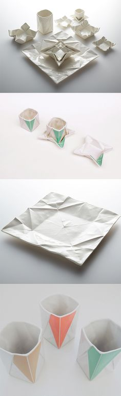 Click for more pics! Ceramic Origami Plates and Dishware by Moij Design #lookslikepaper
