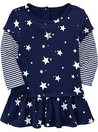 2-in-1 Printed Terry-Fleece Dresses for Baby
