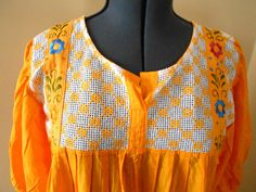 Vtg 70s Boho Peasant Gauze Sun Dress Mexican by CoolDogVintage