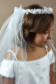 Beaded Floral Communion Wreath Veil