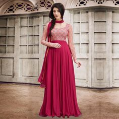 Buy Maroon Cape Style Floor Length Georgette Suit online India, Best Prices, Reviews - Peachmode