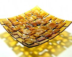By Dawn Turner.    Maple Syrup Patchwork Dish.     25cm square.      Fused and slumped iridised glass