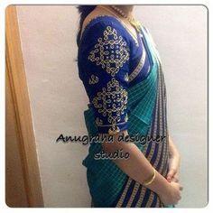 Blouse degsins My pink n blue soft silk chex saree Simple Blouse Designs, Blouse Designs Silk, Bridal Blouse Designs, Blouse Patterns, Kutch Work Designs, Blouse Models, Work Blouse, Indian Designer Wear, Blouse Styles