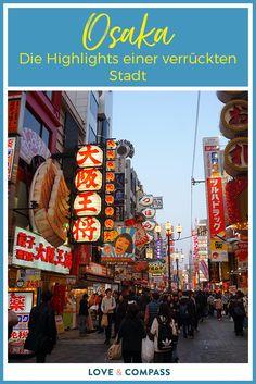 Die Stadt Osaka ist bei weitem noch nicht so berühmt wie die Städte Nara oder Kyoto. Dennoch lohnt es sich auch hier die Stadt zu besuchen. In unserem Beitrag liefern wir euch jede Menge Sehenswürdigkeiten, Infos und Tipps. (Tipps: Namba, Dotonbori, Anreise, Hotels, Restaurants, Osaka Castle)