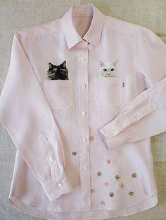 by Hiroko Kubota Kubota, Shirt Embroidery, Embroidered Clothes, Diy Clothes, Printed Shirts, Long Sleeve Shirts, Vintage Outfits, Shirt Designs, Tunic Tops