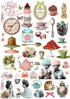Vintage Labels, Vintage Tea, Etsy Vintage, Collage Sheet, Collage Art, Journal Vintage, Victorian Tea Party, Image Digital, Atc Cards