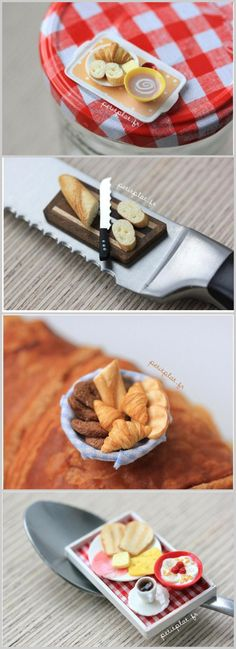 The bread looks real. Miniature Kitchen, Miniature Food, Miniature Dolls, Polymer Clay Miniatures, Polymer Clay Charms, Dollhouse Miniatures, Tiny Food, Fake Food, Clay Projects