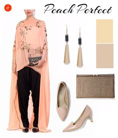 Styling contemporary ethnic wear. #Peach #glamorous #contemporary #ethnic