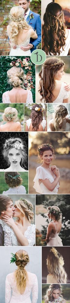 15 PERFECT HAIRSTYLES FOR THE BOHO BRIDE Boho wedding hairstyles tend to have that undone, loose look. Think braids, soft curls and waves, much texturising spray, and obviously, a flower crown helps! You can rock an updo, or leave hair loose and long. My personal favourite has always got to be the half up, half down look. It has that unstyled look, but gives you the perfect place for a headpiece or veil.
