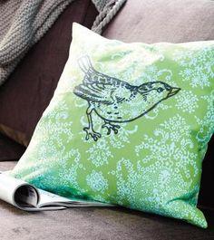 """Put a bird on it"" screen print pillow (ha ha)"