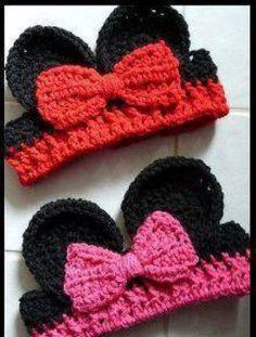 kız çocukları için mickey mouse figrülü örgü bandana