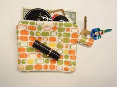 Make up Pouch  Spring Colors coin pouch by ToppyToppyKnits on Etsy, $12.00