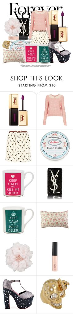 """2"" by carey ❤ liked on Polyvore featuring Gucci, Yves Saint Laurent, Topshop, River Island, Cath Kidston, Other, Iron Fist, Alexander McQueen and cath kidston cups lipglass mac ysl flower shoes platforms gold ring collar nude pink white"