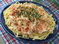 My husband loves this dish and can prepare this one himself! Got it out of an ad for Louis Kemp Seafood products. We have used imitation lobster and crab. I bet it would be awesome with shrimp. Crab Pasta Recipes, Linguine Recipes, Fish Recipes, Seafood Recipes, Cooking Recipes, Entree Recipes, Top Recipes, Healthy Recipes, Recipes