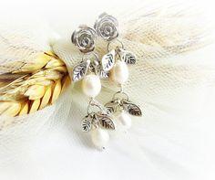 White pearl earrings long freshwater pearl bead dangle