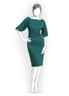 Dress With Wide Sleeves  - Sewing Pattern #4079 Made-to-measure sewing pattern from Lekala with free online download.