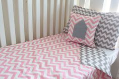 Comforter - Pink and Grey Chevron, Cot Blanket - Boutique Crib Bedding on Etsy, $120.00 AUD