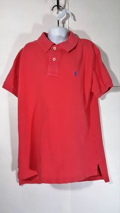 6ecfbd4ead7 Ralph Lauren Polo Shirt Boys size M 10-12 Coral Orange 100% Cotton Pony