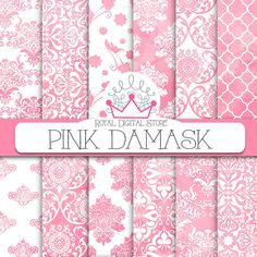 "Damask digital paper: ""PINK DAMASK"" with pink damask background, damask pattern, damask scrapbook paper, pink watercolor damask"