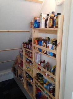 New house projects Best Basement Stairs Storage Stairwells Shelves Ideas A Step Cupboard Storage, Pantry Shelving, Stairway Storage, Wall Storage Shelves, Basement Storage, Shelves, Staircase Storage, Basement Stairs, Basement Storage Shelves