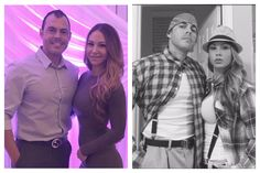 Halloween couple costume dress up Before & After