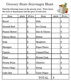FREE: Fun worksheet to take to the grocery store with you. Students in small groups can explore and find all the items on the list. Mark down what aise ...