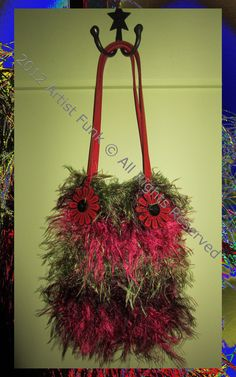 Funky Handmade Handbags - Medium - Colorful Berry Reds And Green - Cotton & Fun Fur With A 100% Cotton Crocheted Brown Lining. $25.00, via Etsy.