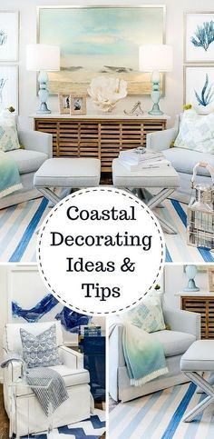 Tips & tricks - Home decorating ideas - Coastal style. There is something serene and satisfying about a room or space that is inspired by nature, especially when it echoes a coastal theme. Try these beach house decorating ideas in your own home to transfo Beach Cottage Style, Coastal Cottage, Coastal Homes, Beach House Decor, Coastal Style, Home Decor, Seaside Cottage Decor, Beach Condo, Beach House Interiors