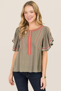 Cathalina Cold Shoulder Embroidered Top