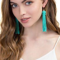 JUJIA 8 colors FIRENZE FRINGE DROPS earrings fashion women statement beads tassel EARRINGS dangle drop Earrings for women
