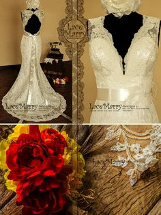 Breathtaking Keyhole Back Vintage Style Lace Wedding Dress with Sweetheart Deep V-Neck, Features Delicate Satin Sash and a Flower Accent on Etsy, $344.00