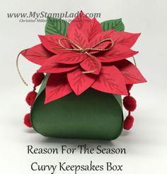 Poinsettia Curvy Keepsakes Box