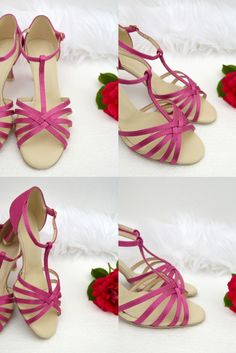 Ružové svadobné a spoločenské sandálky - pohodlný tanečný štýl obuvi s úpravou na bežné nosenie. Vnútro z pravej exkluzívnej kože, Pink sandals with real leather inside Pink Sandals, Lace Up, Flats, Shoes, Fashion, Loafers & Slip Ons, Zapatos, Moda, Shoes Outlet