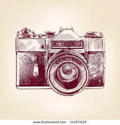 vintage old photo camera drawn vector llustration