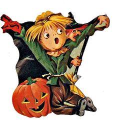 halloween die cuts | Vintage scarecrow Die cut Halloween