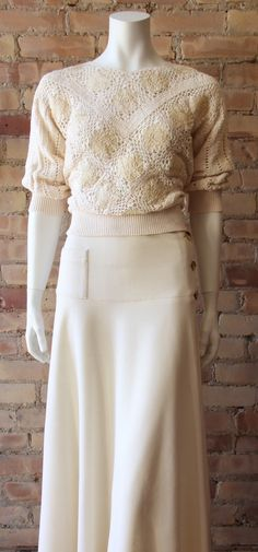Long wool skirt, fitted at hips w/ pocket, then gently flared on the bias