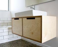 A Simplistic Wall Hung Birch Plywood Bathroom Vanity Unit With Open Routed Drawer Pulls Clean Counter Top Basin Sits Cleanly On Of The