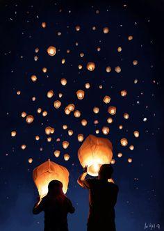 スカイランタンをとばしてみたいなあ。breathtaking sight of sky lantern!