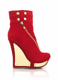 zipper-wedge-booties BEIGE BLACK RED - GoJane.com