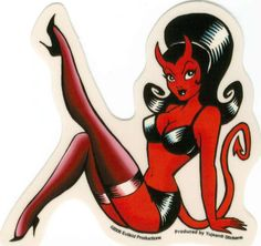 Ur a She-Devil. Pin-up-girl Tattoo, Devil Tattoo, Rockabilly Art, Tatuagem Old School, Demon Art, Pin Up Tattoos, Angels And Demons, Monster Girl, Horror Art