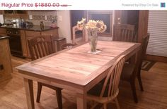 ON SALE Dining Table : Reclaimed Old Oak With a Solid Walnut Surround. via Etsy.
